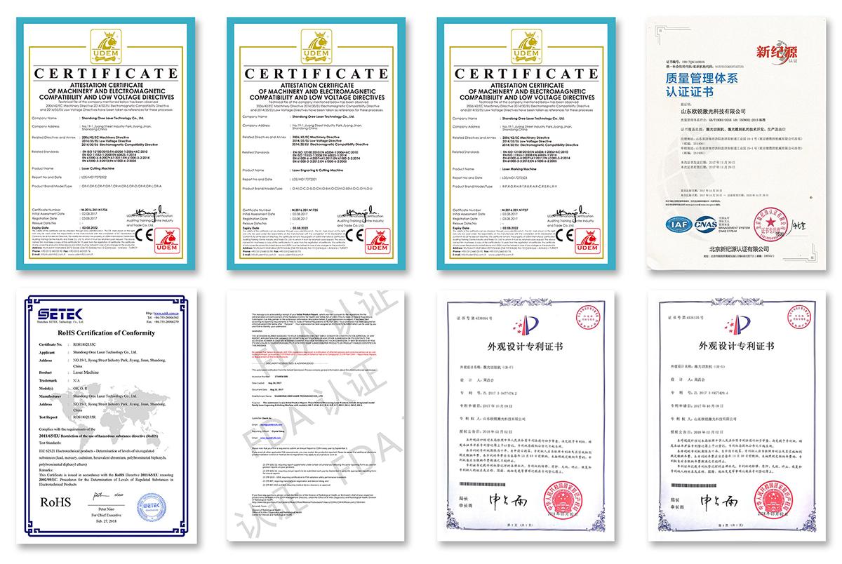 Сертификаты OREE LASER 1 ⋆ OREE LASER